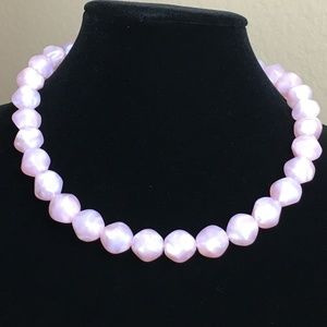 Vintage Pink Lucite Beaded Choker Necklace